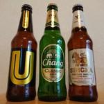 カルディコーヒーファーム - 左からUビール、チャーンビール、シンハービール