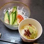 すし処 くにみつ - 料理写真:2019.8.大根サラダ、長芋のそうめん風