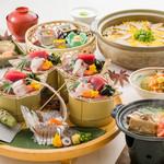 なすび総本店 - 料理写真:しずまえ鯵、鮪の駿河湾皿鉢と加茂なす饅頭と桜えびかき揚げ出しの秋会席