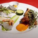 スペインクラブ銀座 - 真鯛のソテー、イベリコ豚ホホ肉と肩ロースのグリル