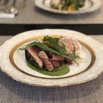 ル ポンデュガール ユキノブ ツキダテ - 愛知野菜 オードブル盛り合わせ(カツオの桜チップくんせい、ホタルイカ、子羊のパテ)