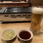 さぶらい - 洗いダレ、つけダレと250円ビール