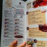 松永牧場 - 肉の部位とたれのメニュー。スタッフさんが説明して親切に頂けます。