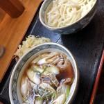 福中 - 料理写真:ねぎなんばんうどんとトッピングの天ぷら(野菜かき揚げ)