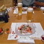 しんしのつ温泉 たっぷの湯 - 料理写真:夕食(はじめに並んでいた料理)
