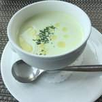 114621666 - 旬野菜とコンソメのジュレの枝豆冷製スープ(^∇^)