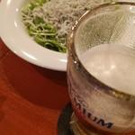 114622051 - まずはビールとお通しで