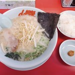 山岡家山形西田店 - 朝ラーメン 450円 JAF白髪ねぎ 半ライス 120円