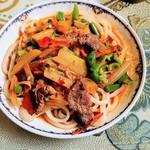 シルクロード・タリムウイグルレストラン - マトン、野菜たっぷりのラグメン、麺はとてもこしが強い