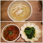 上海湯包小館 - ◆上海塩麺◆  ◆サンラータン麺、青菜のガーリック炒め◆♪