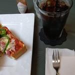 ロビー喫茶 サリダ - ●ピザトーストセット (選択、アイスコーヒー)=800円 2019年08月