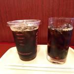 カフェ ベローチェ - アイスコーヒーの左側はLで右側はM