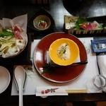 可児かまど - 宴会スタートセット(汲み出し豆腐、お造り、鍋、小鉢)