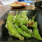 煮込みビストロ 笑う門 - 枝豆ペペロンチーノ
