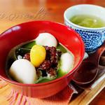 民 - 料理写真:白玉抹茶ぜんざいとお茶のセット