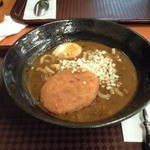 福島上等カレー - カレーうどん 温玉&コロッケをトッピング  カレーうどん絶品でした