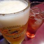 迎賓楼 - キリン生ビール(大)&山楂酒(ソーダ割り)