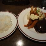 レストラン アサヒ - ハンバーグ&海老フライセット(1,300円)