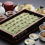小千谷そば角屋 - 料理写真:へぎそば、天ぷら、きんぴら