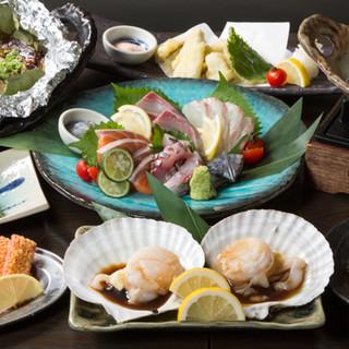 お肉、お魚が満足できる!当店定番コース5000円飲み放題付♪