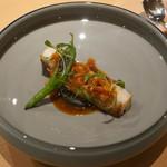 サンプリシテ - 明石太刀魚、海老ピューレ、海老のスープ