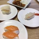 かっぱ寿司 - サーモン・赤エビ・つぶ貝・竜田揚げ
