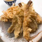 天ぷら定食ふじしま - えび天付き天ぷら定食 天ぷらアップ