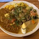 アジアンキッチン オオツカレー - 2種あいがけカレー(ポークキーマの薬膳スパイスカレー、グリーンカレー)