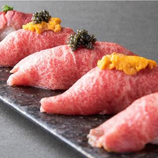 「最高級A5黒毛和牛」の和牛肉寿司をご堪能ください。
