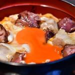 青山 鶏味座 - 究極の親子丼 レバー入り〈雛〉@1,380円:黄身を崩してみた。