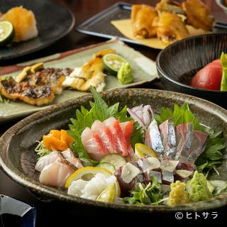 店主自ら地元の市場を数軒巡り、目利きして仕入れる旬の鮮魚
