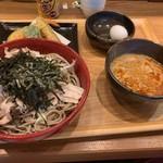 創作十割蕎麦 とらせんにん - つけ蕎麦特盛り、天ぷら盛り合わせ