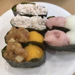 かっぱ寿司 - 料理写真:肉味噌卵黄?とサラダ軍艦とネギトロとろろ