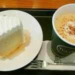 タリーズ コーヒー - 北海道小麦と豆乳クリームのシフォン、カフェラテ(デカフェ)