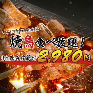 宮崎県のブランド地鶏「日向地鶏」の3時間食べ飲み放題プラン!