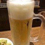 中華そば うめや - ドリンク写真:生ビールジョッキ おつまみ付き。
