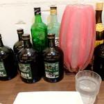 四川料理 川国志 - 松本さんと戸川さんと坂田先生の黒霧島をばれないようにちょっとずつ頂戴し、グラス一杯のロックをつくる。ごちそうさまでした ! んなわけない