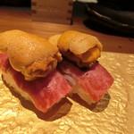 sousakuteppankonamonotoukyou - 雲丹乗せ和牛寿司