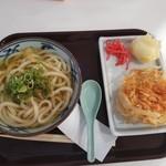 宮武讃岐製麺所 - 料理写真:かけうどん,桜海老かきあげ,半熟たまご天