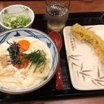 丸亀製麺 - 明太クリーム釜玉並640円&万願寺とうがらし天150円