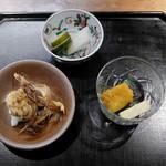 和の菜彩 さとう - 野菜の南蛮漬け、イワシとハモの骨せんべい、ハモ寿司