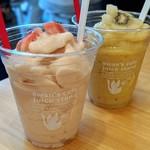 スワンズカフェ ジューススタンド - 犬山産完熟桃ミルクスムージー&ゴールデンスムージー〜犬山産ゴールデンキウイ&パイナップル