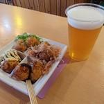 たこ焼道楽 わなか - おおいり(600円)生ビール(500円)