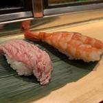 仙令鮨 - まぐろ頭肉、ゆで海老