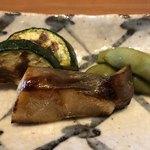 115135568 - ズッキーニ、真魚鰹の幽玄焼き、枝豆。