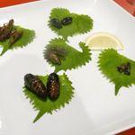 珍獣屋 - 続いては「昆虫5種盛り」が登場!個人的にはゴキブリ、コウロギが美味しく、ゲンゴロウは固くて食べにくく、蚕の蛹は独特の香りにかなり癖があるものの、しそで巻いて食べると中々のウマさでした!