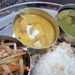 インディアンスパイスファクトリー - 左側、アップ。(左から)サラダ、チキンカレー、魚(スズキ)のカレー。