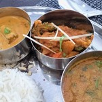 インディアンスパイスファクトリー - 右側、アップ。(左から)オクラのカレー、ゴーヤのカレー、ムングダルのカレー。