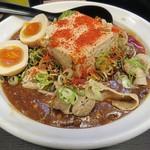 辛口肉ソバ ひるドラ - 【麻婆まぜそば からドラ + 半熟味玉】¥800 + ¥120