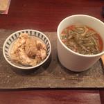 蕎麦切り 酒 大愚 - ジュンサイの冷製茶碗蒸しと牛蒡と蒸し鶏の胡麻和え